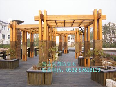 青电子游艺城岛防腐木廊架